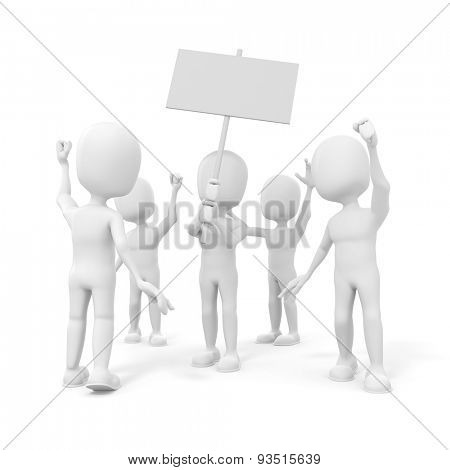 3d man -  group of protesting people on white background