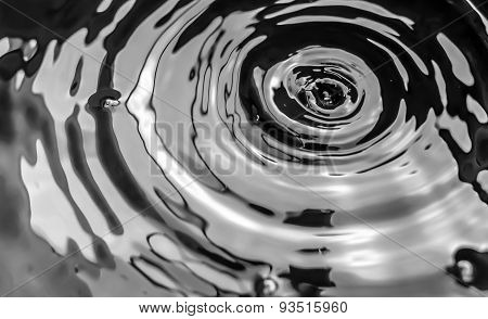 Waterdrops And Ripples On Water Surface