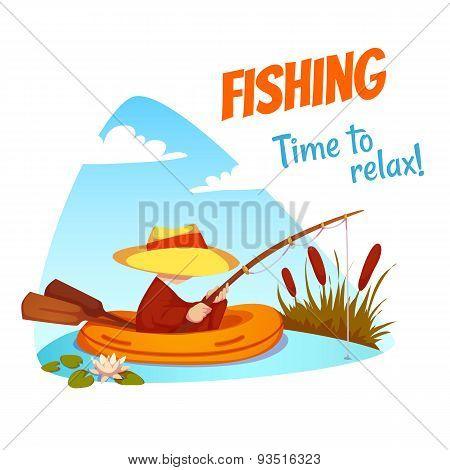 Vector illustration of fisherman in the boat