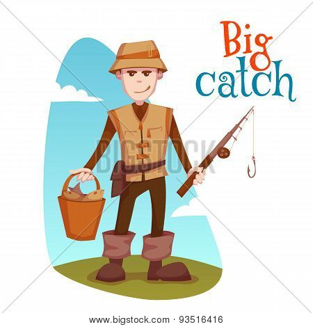 Vector illustration of fisherman with bucket and fishing rod