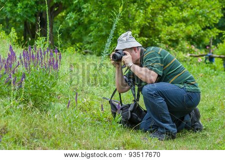 Photographer taking a photo of wild butterfly
