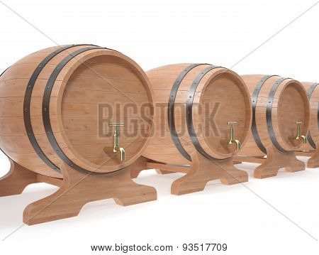 Wooden Barrels For Alcoholic Drinks Of Beer, Wine, Rum, Whiskey Stock Isolated On White Background W