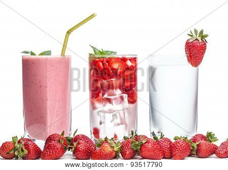 Three Glasses Of Strawberry Cocktail And Berries