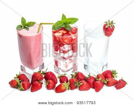 Glasses Of Strawberry Cocktail And Berries