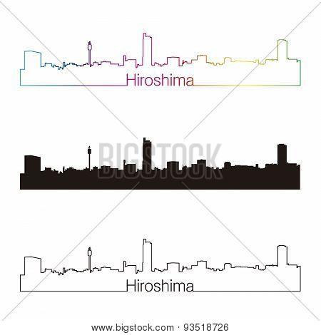 Hiroshima Skyline Linear Style With Rainbow