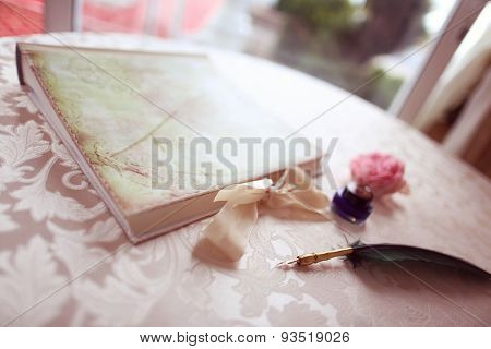 Beautiful Feather Pen On Table