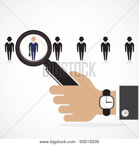 Search For An Employee. Looking For Talent. Search For Businessman. Businessman Standing Out From