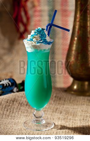 Blue Curacao Alcohol Cocktail with White Cream