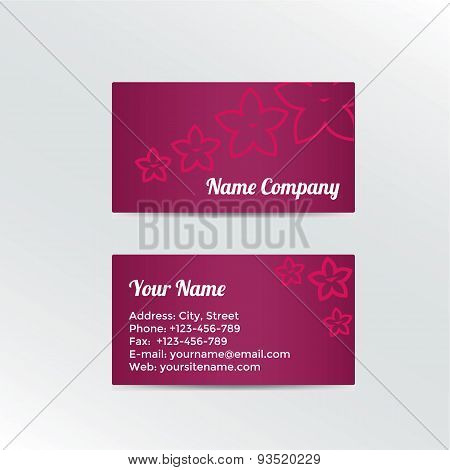 Business Card with abstract flowers