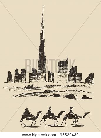 Caravan of Camels Dubai City Skyline Silhouette