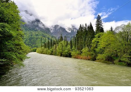 River in mountains.