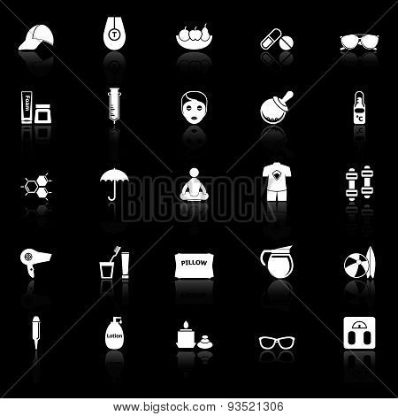 Facial And Body Treatment Icons With Reflect On Black Background
