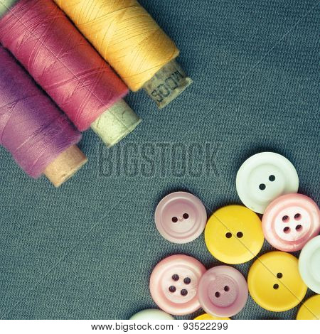 Spools of threads and buttons