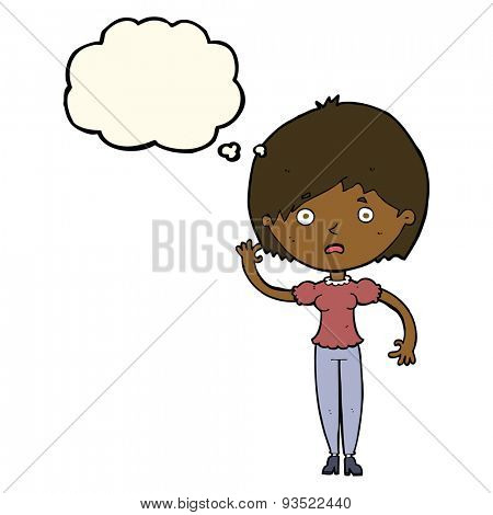 cartoon waving woman with thought bubble