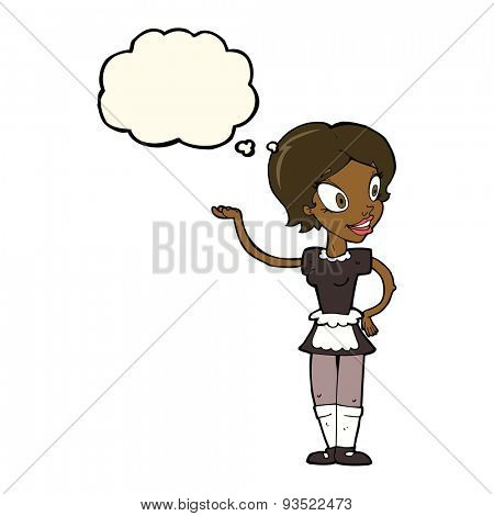 cartoon maid with thought bubble