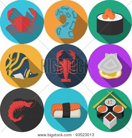 Colored seafood flat vector icons