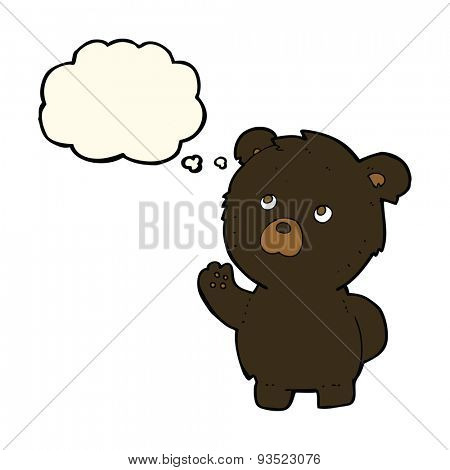 cartoon waving black bear with thought bubble