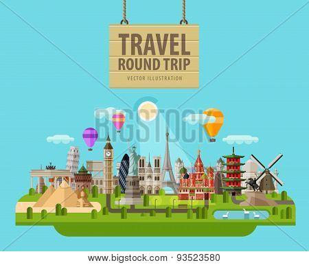 summer vacation vector logo design template. travel, journey or sights of the world icon. flat illus
