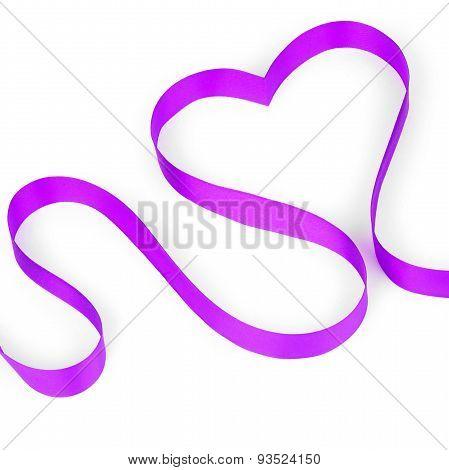 Purple ribbon shaping heart
