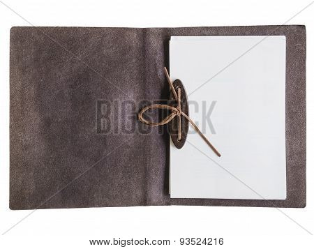 Mock up Blank Paper Page In Leather Folder Isolated