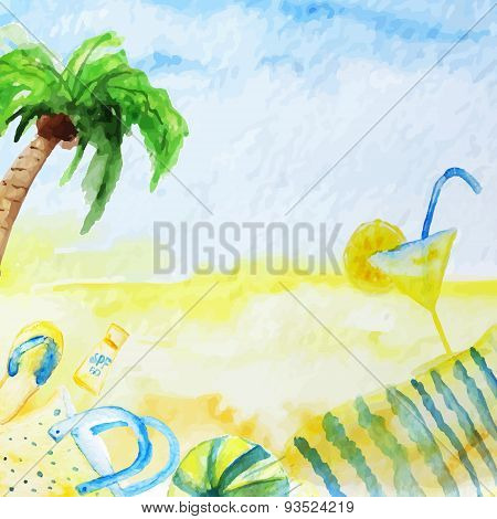 Vector Watercolor Summer Poster  On Beach Background With Palm Tree, Coctail, Cover And Ball.
