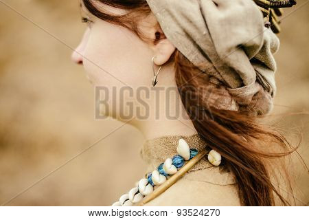 Woman In Ethnic Suit In Context Of Historical Reconstruction Outdoor