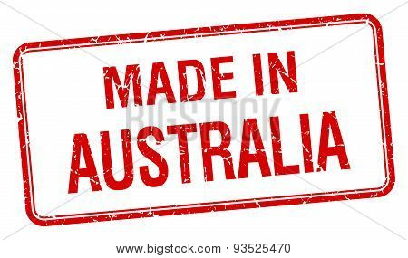 Made In Australia Red Square Isolated Stamp