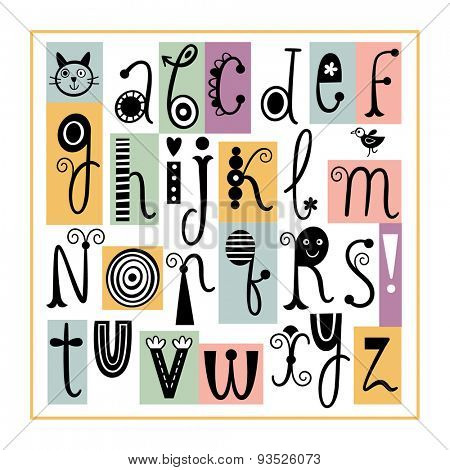 English Alphabet. Cute Stylish Letters.