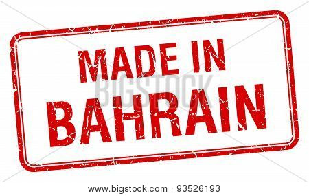 Made In Bahrain Red Square Isolated Stamp