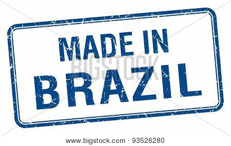 Made In Brazil Blue Square Isolated Stamp