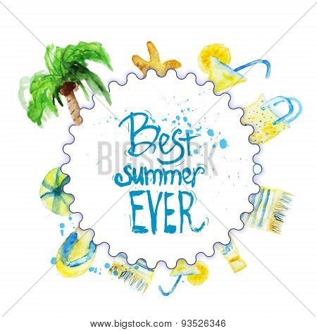 Vector Watercolor Summer Poster With Lettering On Beach Background With Palm Tree, Coctail, Cover, S