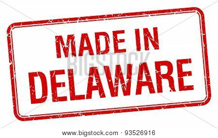 Made In Delaware Red Square Isolated Stamp