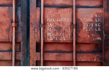 Old Red Shipping Container Door With Text
