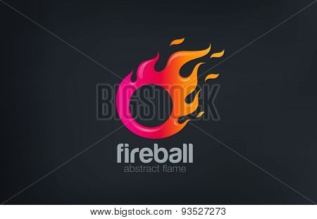 Fireball Logo Fire flame abstract design vector template. Circle shape fast speed comet logotype icon.