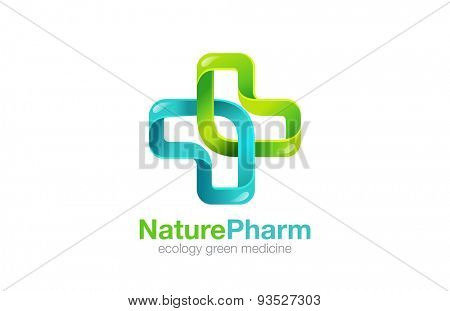 Medical Cross Logo Pharmacy natural eco Clinic design vector template. Medicine Health care Logotype. Ecology Green Healthcare icon.