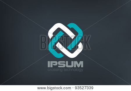 Cross Logo X letter abstract looped locked vector design template. Infinity two parts logotype. Team work concept icon.