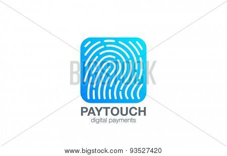 Fingerprint Logo Touch Security design vector template Square shape. Biometric Access Scan Application Logotype. App icon concept.