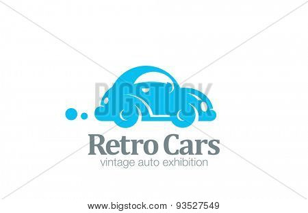 Logo car retro design vector template. Auto repair service Logotype. Vintage Vehicle silhouette icon.