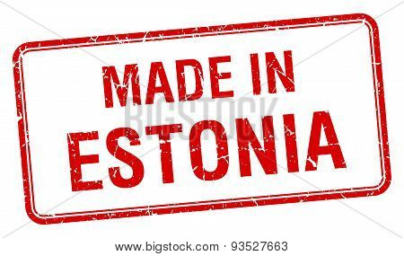 Made In Estonia Red Square Isolated Stamp