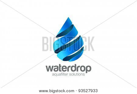 Oil Water drop Logo aqua vector template. Waterdrop Logotype. Droplet 3d spiral shape design element.