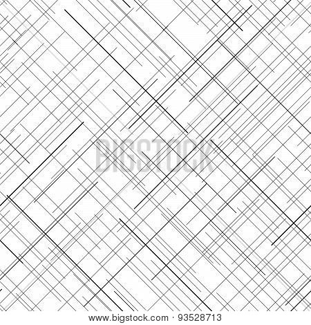 Monochrome seamless pattern. Diagonal random lines. Abstract texture. Plaid.