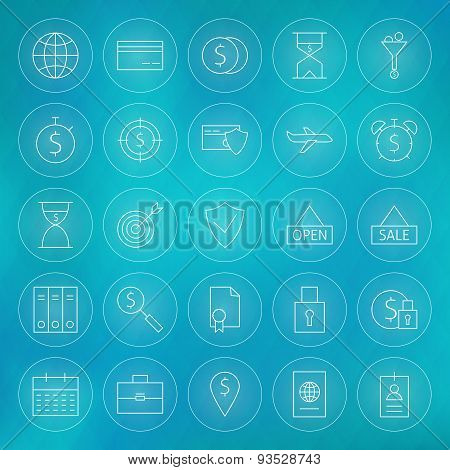 Banking Finance Business Money Lifestyle Circle Line Icons Set