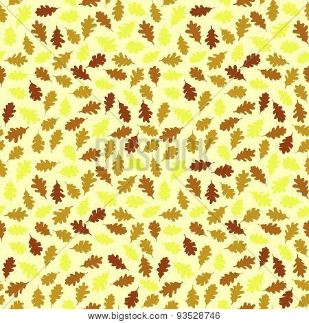 Seamless pattern with colorful oak leaves. Autumn texture.