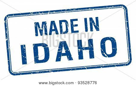 Made In Idaho Blue Square Isolated Stamp