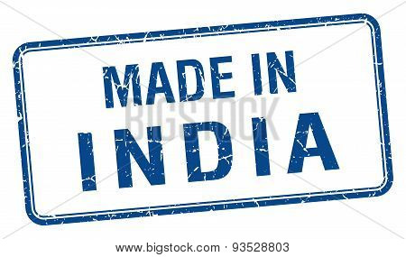 Made In India Blue Square Isolated Stamp