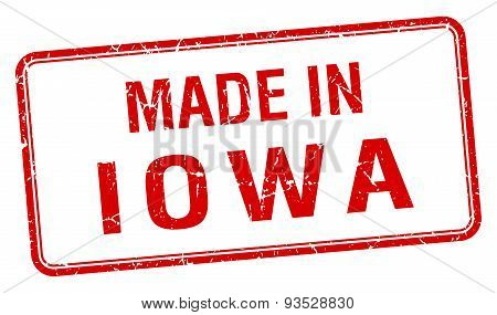 Made In Iowa Red Square Isolated Stamp