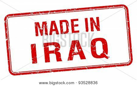 Made In Iraq Red Square Isolated Stamp