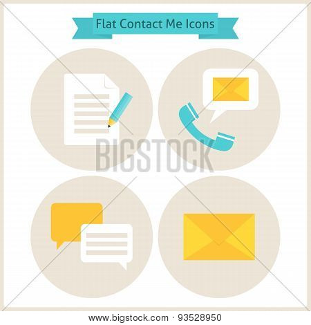 Flat Contact Me Website Icons Set