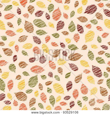 Autumn texture with scraped raspberry leaves. Warm seamless pattern.