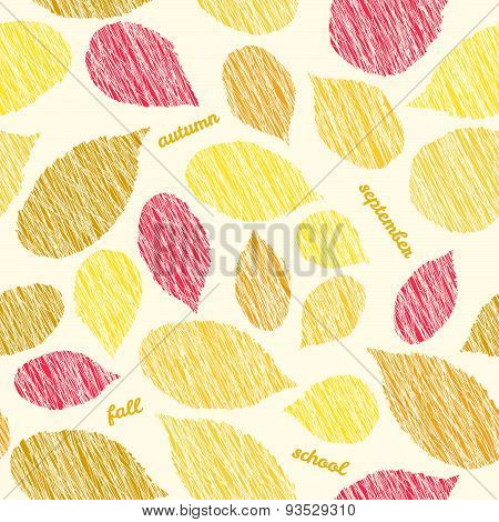 'Autumn soon'. Fall texture with scraped raspberry leaves. Bright seamless pattern.